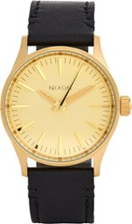 Nixon Sentry 38 Leather Watch Gold