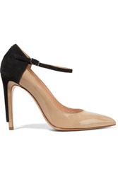 Maison Martin Margiela Two Tone Glossed Leather And Suede Pumps Beige