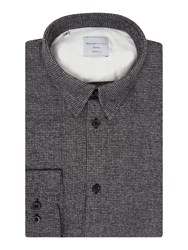 Selected Men's Homme Houndstooth Print Long Sleeve Shirt Grey