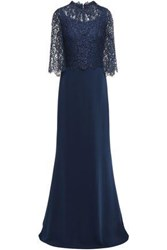 Reem Acra Woman Layered Lace And Crepe Gown Navy