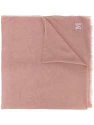 M Missoni Embroidered Logo Scarf Women Cashmere Modal One Size Nude Neutrals