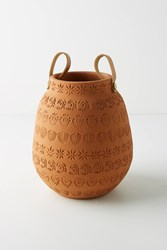 Anthropologie Stamped Terracotta Vase Brown
