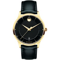 Movado 606875 'S 1881 Automatic Date Leather Strap Watch Black