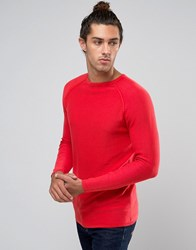 United Colors Of Benetton Ribbed Jumper With Crew Neck Red 21L