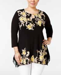 Jm Collection Plus Size Printed Handkerchief Hem Tunic Only At Macy's Yellow Decor