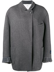 Zadig And Voltaire Fringed Cuff Oversized Coat Grey