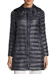Peserico Hooded Long Puffer Coat Navy