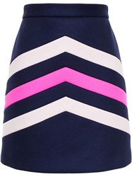 Msgm Chevron Mini Skirt Blue