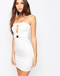 Oh My Love Bandeau Buckle Bodycon Dress With Cut Out Cream