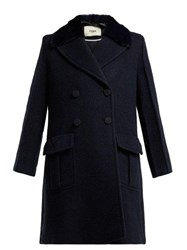Fendi Double Breasted Wool Blend Coat Navy