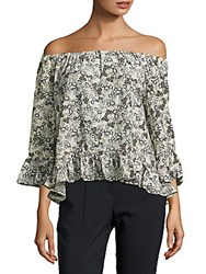 Sanctuary Julia Printed Off The Shoulder Blouse Spring Meadow