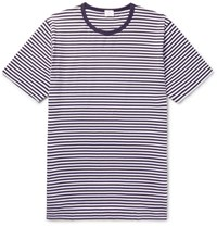 Sunspel Slim Fit Striped Cotton T Shirt Navy