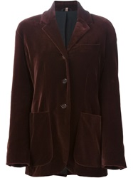 Romeo Gigli Vintage Loose Fit Velvet Blazer Brown