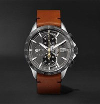 Baume And Mercier Clifton Club Indian Legend Tribute Scout Chronograph 44Mm Stainless Steel Leather Watch Anthracite