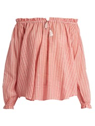 Zimmermann Roza Off The Shoulder Striped Cotton Top Pink Stripe
