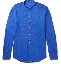 Massimo Alba Mandarin Collar Textured Cotton Half Placket Shirt Blue