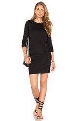 Bobi Supreme Jersey Long Sleeve Knot Mini Dress Black