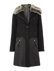 Pennyblack Faux Fur Trim Coat Black