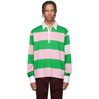 Thom Browne Green And Pink 4 Bar Oversized Long Sleeve Polo