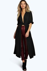 Boohoo Plunge Neck Split Maxi Shirt Black