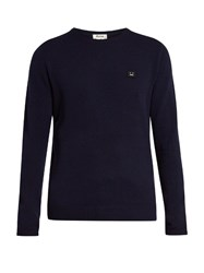 Acne Studios Dasher Face Patch Wool Sweater Navy