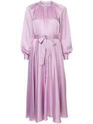 Co Belted Shirt Dress Pink And Purple