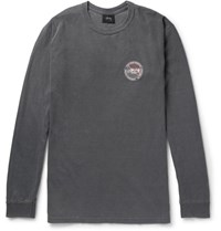 Stussy Slim Fit Printed Cotton Jersey T Shirt Dark Gray