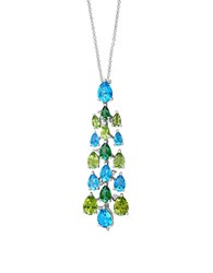 Effy Mosaic 14K White Gold Blue Topaz And Peridot Pendant Necklace Blue Green