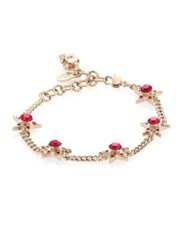 Alexander Mcqueen Star Skull Crystal Chain Bracelet Gold Red