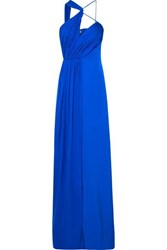 Cushnie Draped Cutout Silk Georgette Gown Blue