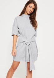 Missguided Grey Tie Front Knot Mini Dress