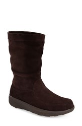 Women's Fitflop 'Loaff' Slouchy Boot Dark Brown Suede