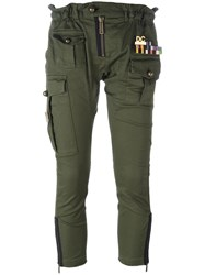 Dsquared2 'Golden Arrow' Cropped Military Trousers Green