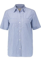 Current Elliott The Short Sleeve Perfect Striped Cotton Blend Shirt Blue