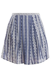 Band Of Outsiders Stripe Eyelet Pleat Skirt