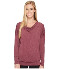 Lucy To The Barre Long Sleeve Grape Wine Heather Women's Long Sleeve Pullover Purple