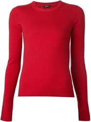 Jil Sander Navy Crew Neck Sweater Red