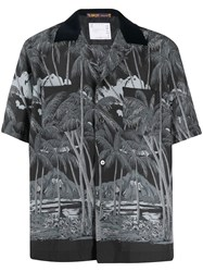 Sacai Floral Short Sleeve Shirt Black