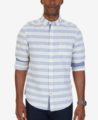 Nautica Men's Classic Fit Stripe Linen Blend Shirt Sunshine