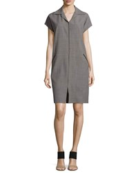Shamask Cap Sleeve Shirtdress W Suede Trim Storm Blue