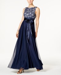 Jessica Howard Sequined Lace Mesh Gown Navy Ivory