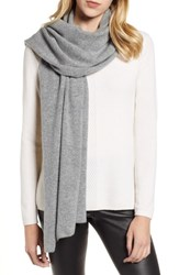 Halogen Solid Cashmere Scarf Grey Medium Heather