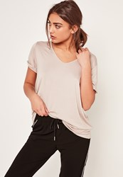 Missguided Nude Petite V Neck Boyfriend T Shirt Stone