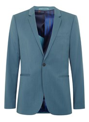 Topman Blue Skinny Suit Jacket With Printed Lining