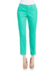 Lord And Taylor Cropped Stretch Pique Pants Bright Green