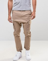 Asos Drop Crotch Cargo Trousers With Zip Details In Stone Stone