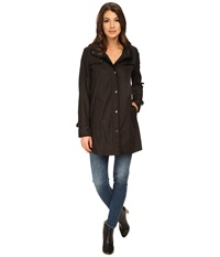 Dkny Snap Front Topper With Zipper Details Black Women's Coat