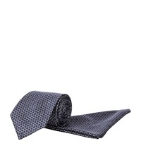 Brioni Medallion Print Tie And Handkerchief Set Unisex Black