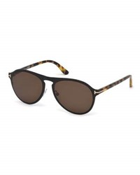 Tom Ford Bradbury Metal Aviator Sunglasses Shiny Black Tortoise Brown