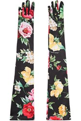 Dolce And Gabbana Floral Print Stretch Jersey Gloves Black Gbp